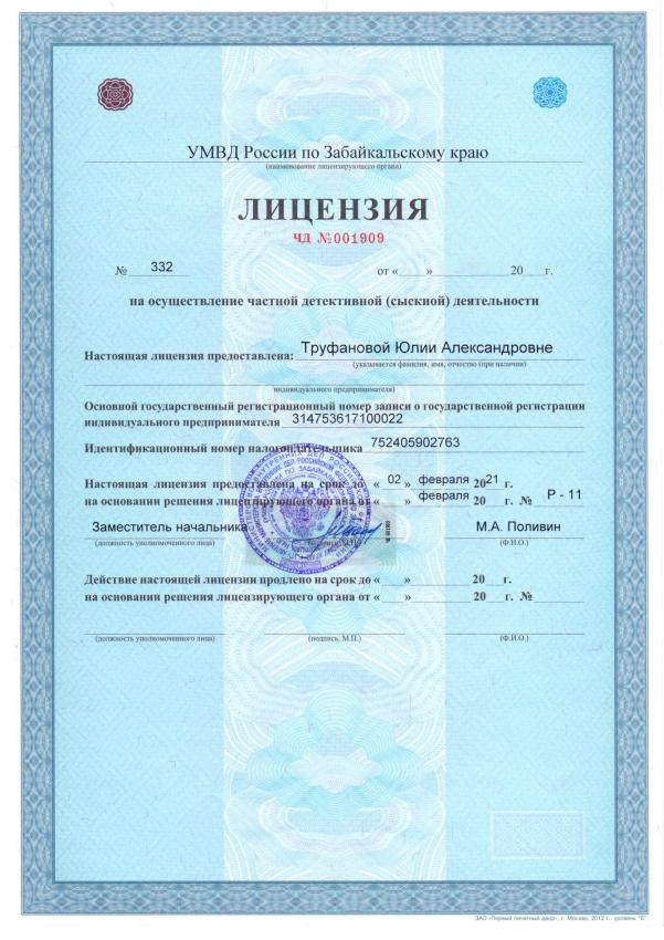 лицензия частного детектива
